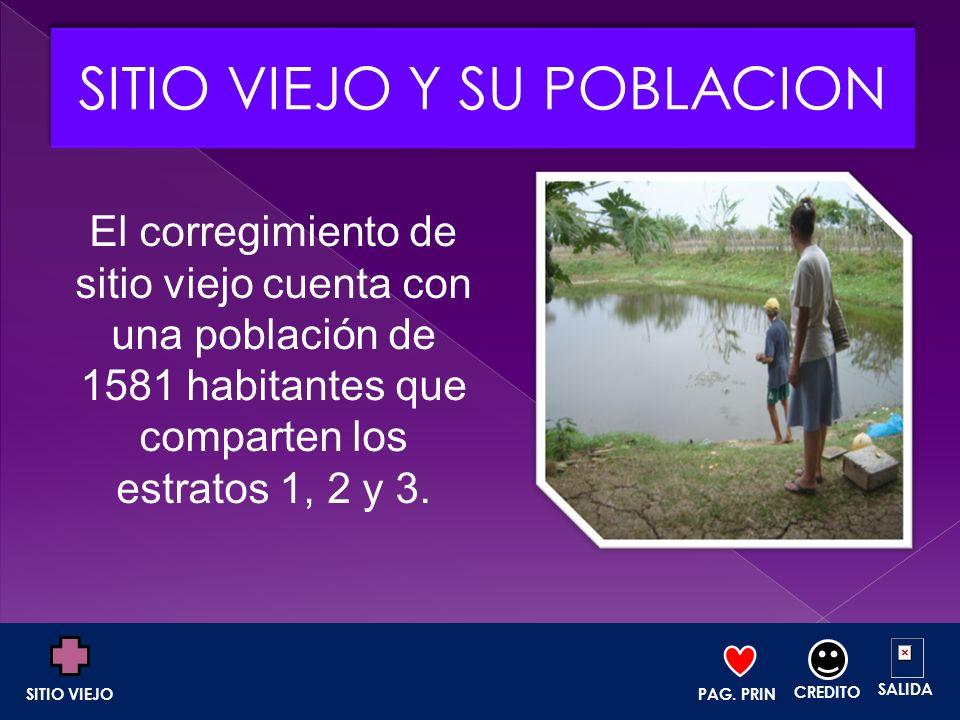 El corregimiento de sitio viejo cuenta con una población de 1581 habitantes que comparten los estratos 1, 2 y 3. PAG. PRIN. CREDITO SALIDA SITIO VIEJO