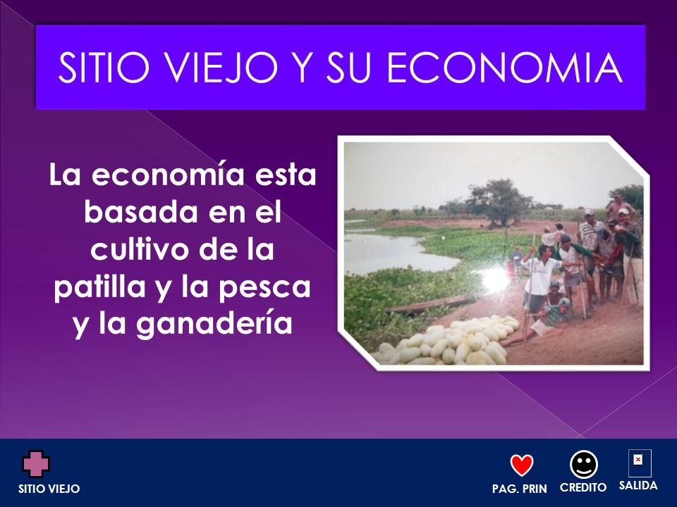 La economía esta basada en el cultivo de la patilla y la pesca y la ganadería PAG. PRIN. CREDITO SALIDA SITIO VIEJO