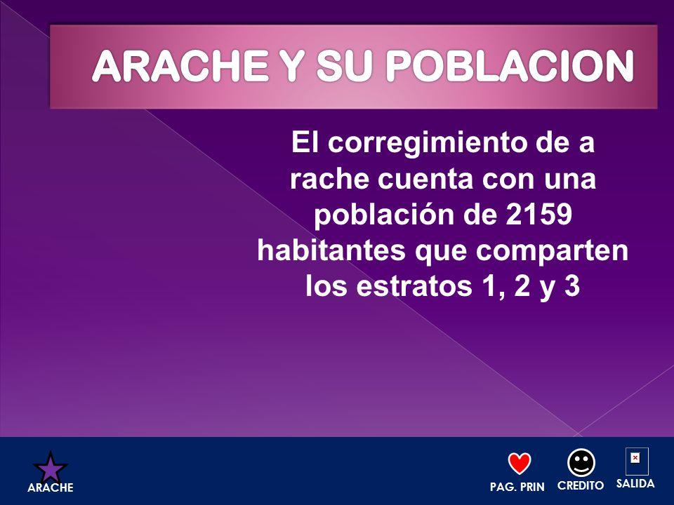 El corregimiento de a rache cuenta con una población de 2159 habitantes que comparten los estratos 1, 2 y 3 PAG. PRIN. CREDITO SALIDA ARACHE