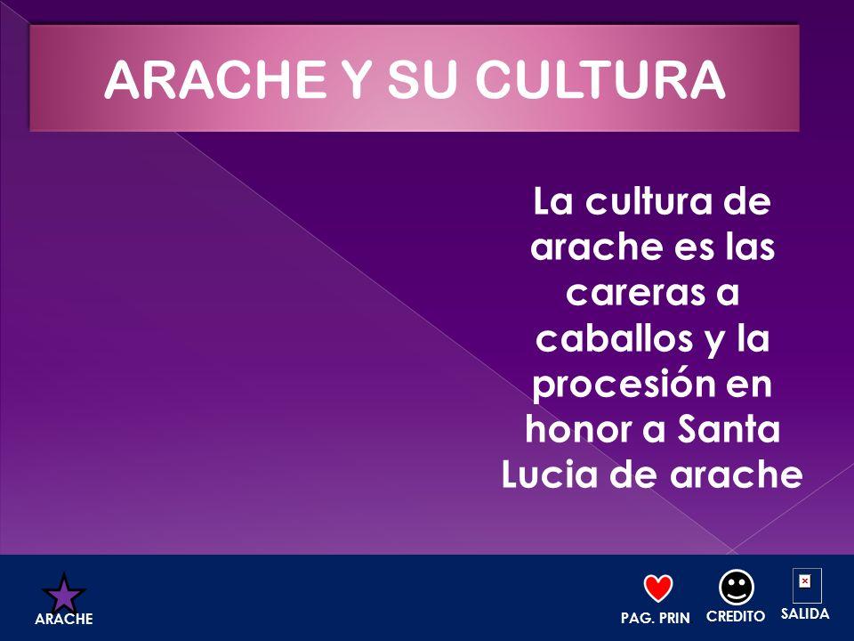 La cultura de arache es las careras a caballos y la procesión en honor a Santa Lucia de arache PAG. PRIN. CREDITO SALIDA ARACHE