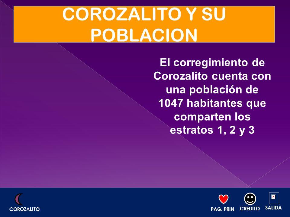 COROZALITO Y SU POBLACION El corregimiento de Corozalito cuenta con una población de 1047 habitantes que comparten los estratos 1, 2 y 3 PAG. PRIN. CR