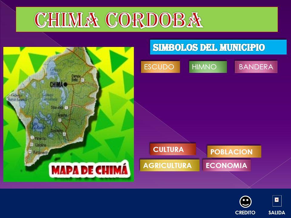 La Bandera, el Escudo y el Himno del Municipio de Chimá se originaron a través de una convocatoria a concurso, organizada por la fundación artística y cultural de Chimá Córdoba (Funchimá) apoyada por la Secretaria de Educación Municipal y su Alcalde Carlos Rodríguez Montoya, fijada durante los días 3 y 4 de Agosto de 2006.