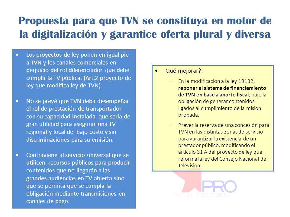 Propuesta para que TVN se constituya en motor de la digitalización y garantice oferta plural y diversa Los proyectos de ley ponen en igual pie a TVN y los canales comerciales en perjuicio del rol diferenciador que debe cumplir la TV pública.