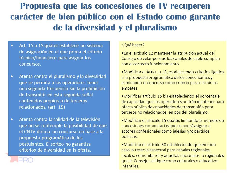 Propuesta que las concesiones de TV recuperen carácter de bien público con el Estado como garante de la diversidad y el pluralismo Art.