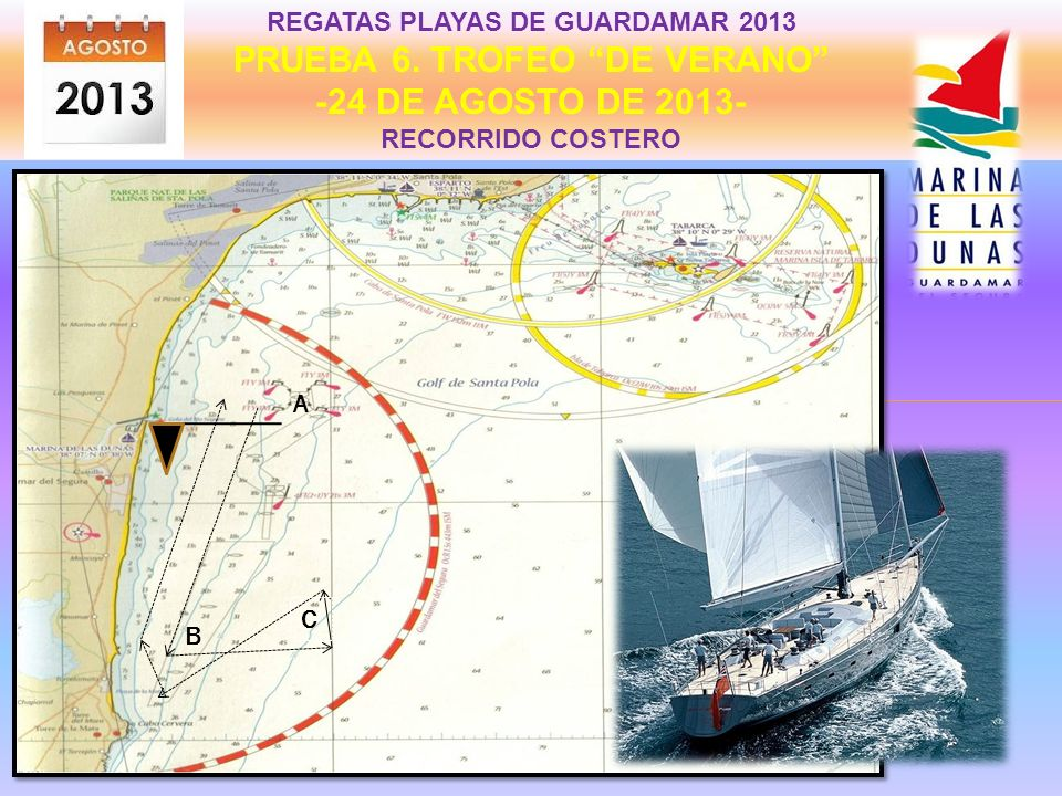 REGATAS PLAYAS DE GUARDAMAR 2013 PRUEBA 5. TROFEO SAN JAIME -20 DE JULIO DE 2013- RECORRIDO COSTERO