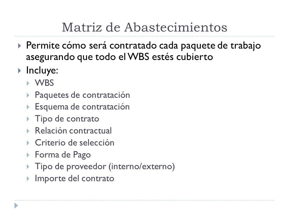 Matriz de Abastecimientos Permite cómo será contratado cada paquete de trabajo asegurando que todo el WBS estés cubierto Incluye: WBS Paquetes de cont