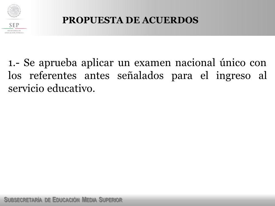 S UBSECRETARÍA DE E DUCACIÓN M EDIA S UPERIOR PROPUESTA DE ACUERDOS 1.- Se aprueba aplicar un examen nacional único con los referentes antes señalados
