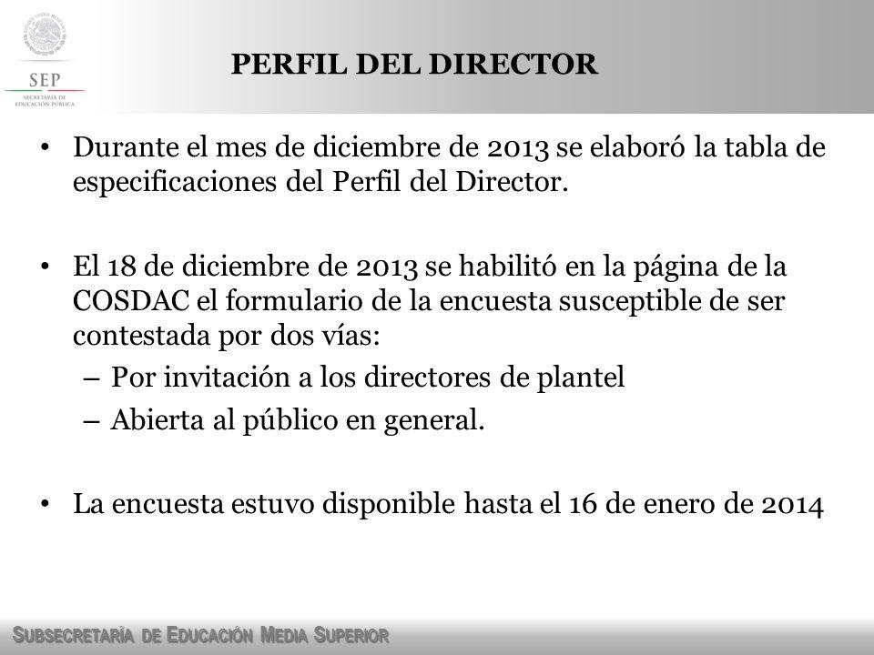 S UBSECRETARÍA DE E DUCACIÓN M EDIA S UPERIOR PERFIL DEL DIRECTOR Durante el mes de diciembre de 2013 se elaboró la tabla de especificaciones del Perf