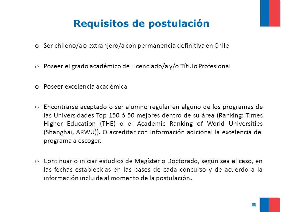 Requisitos de postulación o Ser chileno/a o extranjero/a con permanencia definitiva en Chile o Poseer el grado académico de Licenciado/a y/o Título Pr