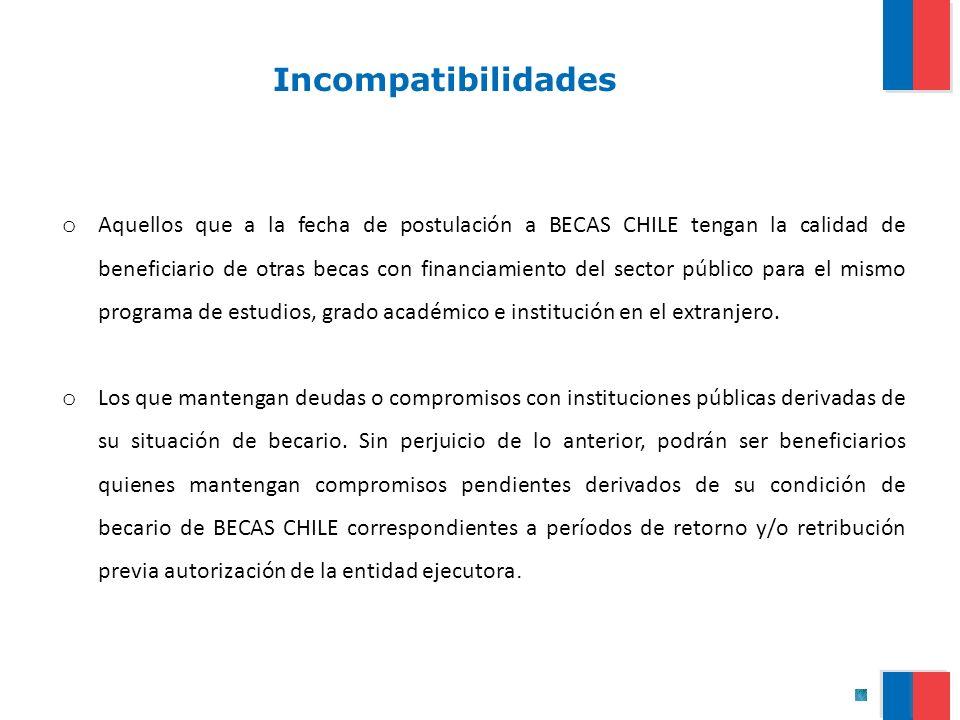 Incompatibilidades o Aquellos que a la fecha de postulación a BECAS CHILE tengan la calidad de beneficiario de otras becas con financiamiento del sect