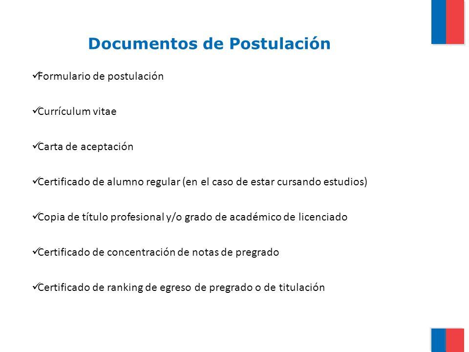 Documentos de Postulación Formulario de postulación Currículum vitae Carta de aceptación Certificado de alumno regular (en el caso de estar cursando e