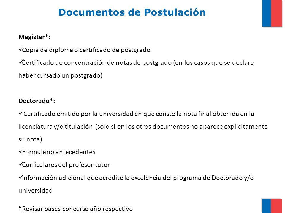 Documentos de Postulación Magíster*: Copia de diploma o certificado de postgrado Certificado de concentración de notas de postgrado (en los casos que