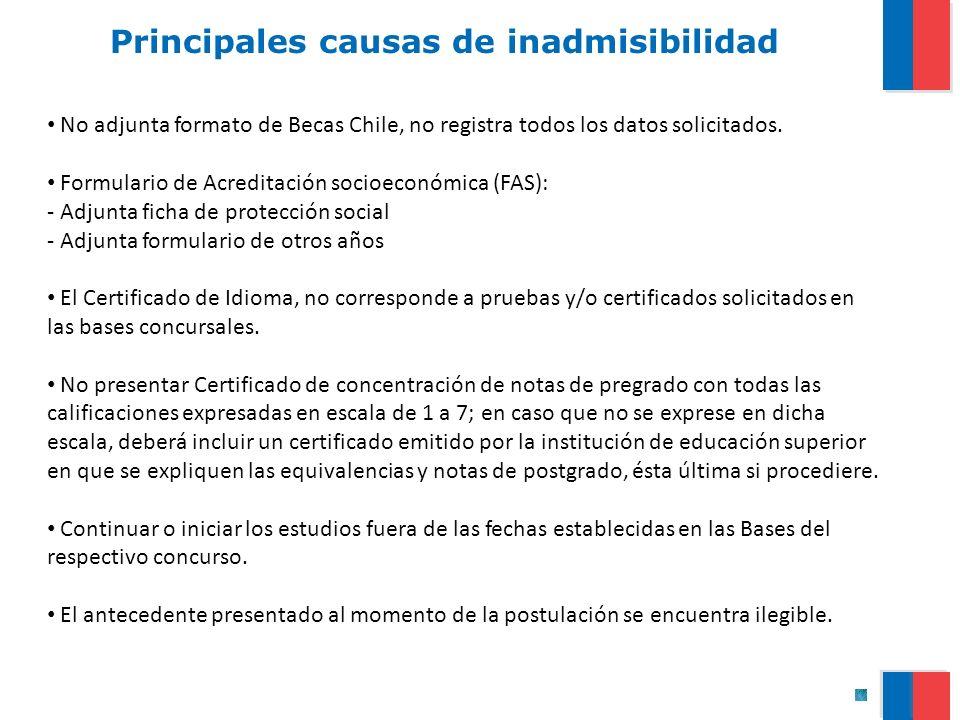 Principales causas de inadmisibilidad No adjunta formato de Becas Chile, no registra todos los datos solicitados. Formulario de Acreditación socioecon