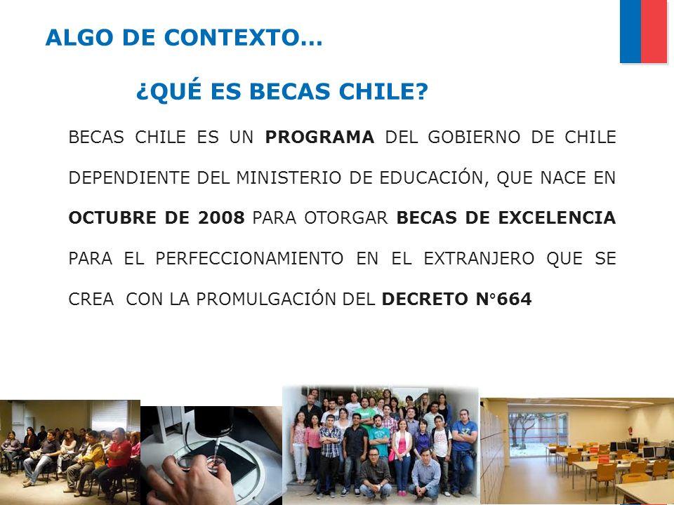 BECAS CHILE ES UN PROGRAMA DEL GOBIERNO DE CHILE DEPENDIENTE DEL MINISTERIO DE EDUCACIÓN, QUE NACE EN OCTUBRE DE 2008 PARA OTORGAR BECAS DE EXCELENCIA