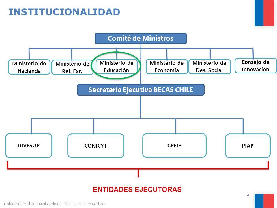 Comité de Ministros Secretaría Ejecutiva BECAS CHILE Ministerio de Rel. Ext. Ministerio de Educación Ministerio de Economía Ministerio de Des. Social