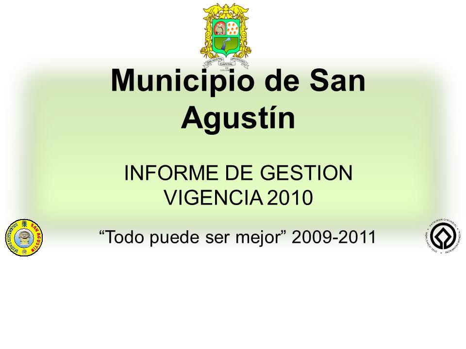 Municipio de San Agustín INFORME DE GESTION VIGENCIA 2010 Todo puede ser mejor 2009-2011