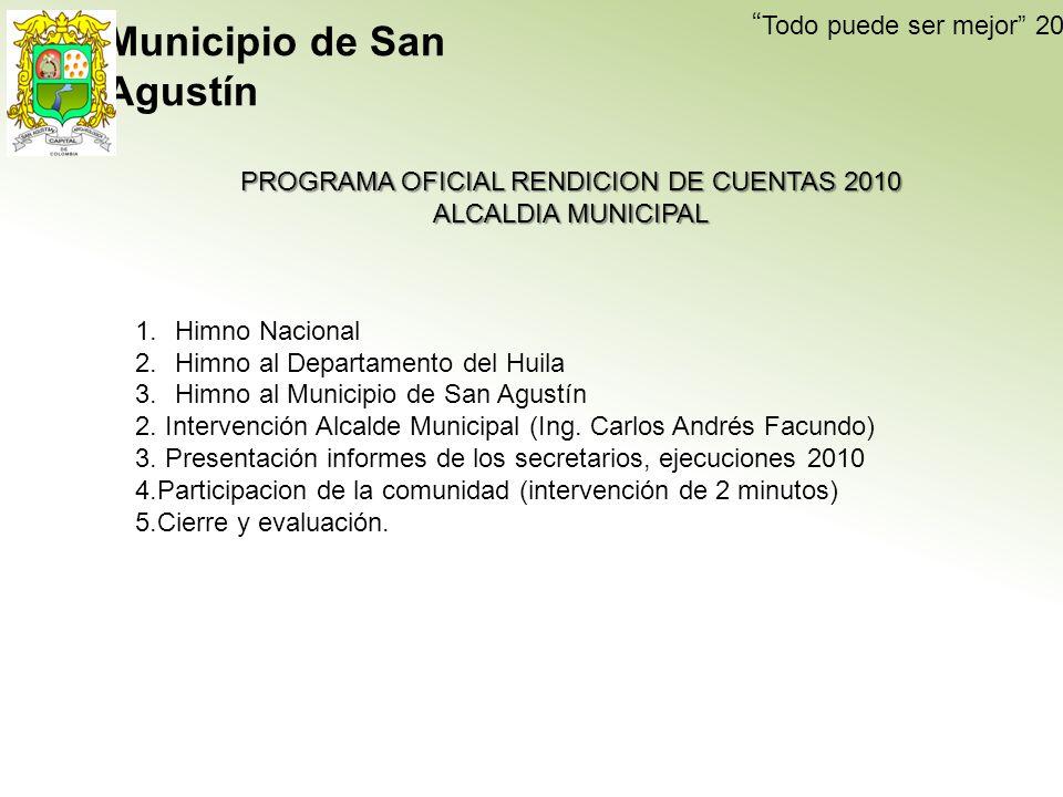 Todo puede ser mejor 2009-2011 PROGRAMA OFICIAL RENDICION DE CUENTAS 2010 ALCALDIA MUNICIPAL EL DESARROLLO DE LA AUDIENCIA PUBLICA SERA EN CUATRO BLOQUES ASI: 1.