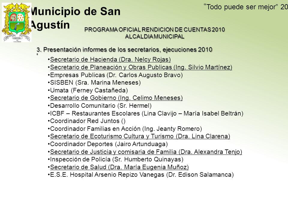Todo puede ser mejor 2009-2011 PROGRAMA OFICIAL RENDICION DE CUENTAS 2010 ALCALDIA MUNICIPAL 3.