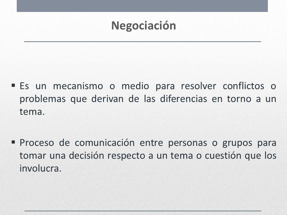 Negociación Es un mecanismo o medio para resolver conflictos o problemas que derivan de las diferencias en torno a un tema. Proceso de comunicación en