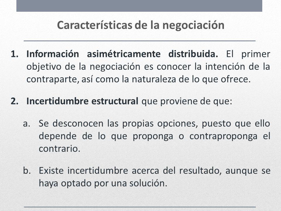 Características de la negociación 1.Información asimétricamente distribuida. El primer objetivo de la negociación es conocer la intención de la contra