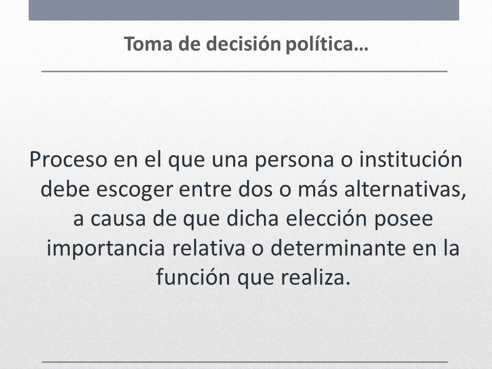 Toma de decisión política… Proceso en el que una persona o institución debe escoger entre dos o más alternativas, a causa de que dicha elección posee