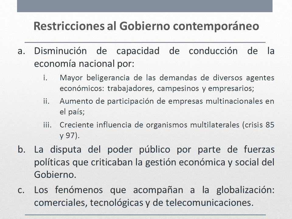 Restricciones al Gobierno contemporáneo a.Disminución de capacidad de conducción de la economía nacional por: i.Mayor beligerancia de las demandas de