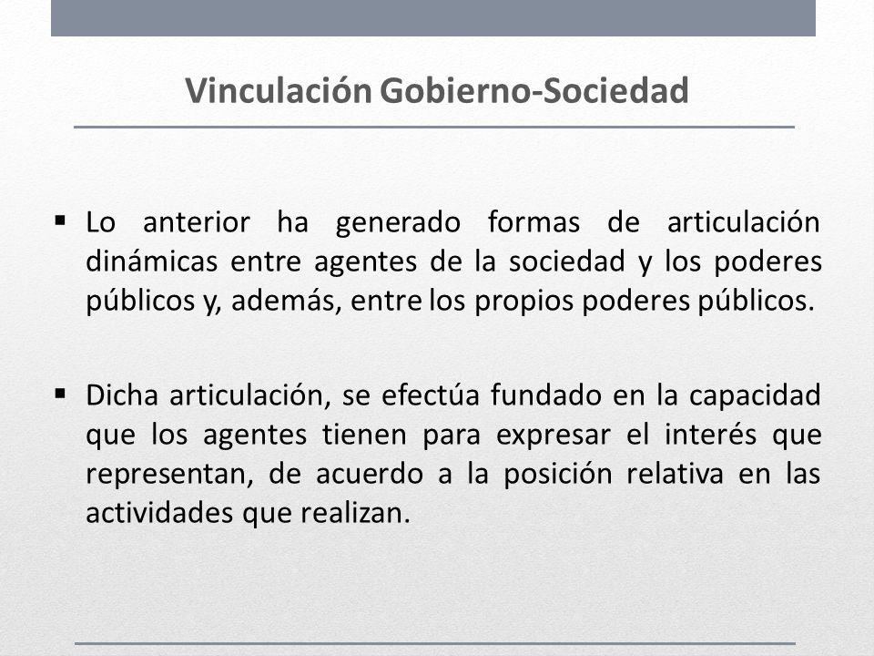 Vinculación Gobierno-Sociedad Lo anterior ha generado formas de articulación dinámicas entre agentes de la sociedad y los poderes públicos y, además,