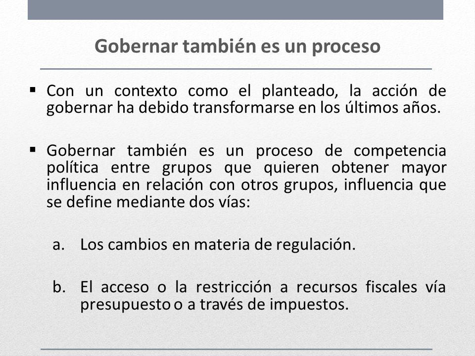 Gobernar el proceso (1) Dos significados: 1.Regular la competencia que posee efectos sociales conflictivos.