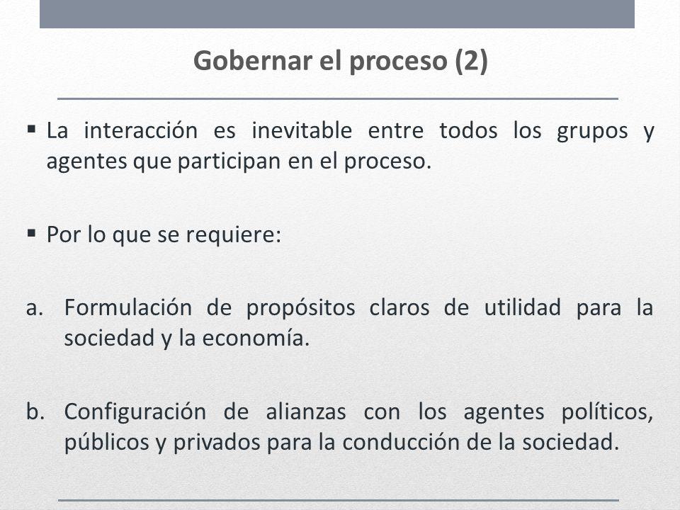 Gobernar el proceso (2) La interacción es inevitable entre todos los grupos y agentes que participan en el proceso. Por lo que se requiere: a.Formulac