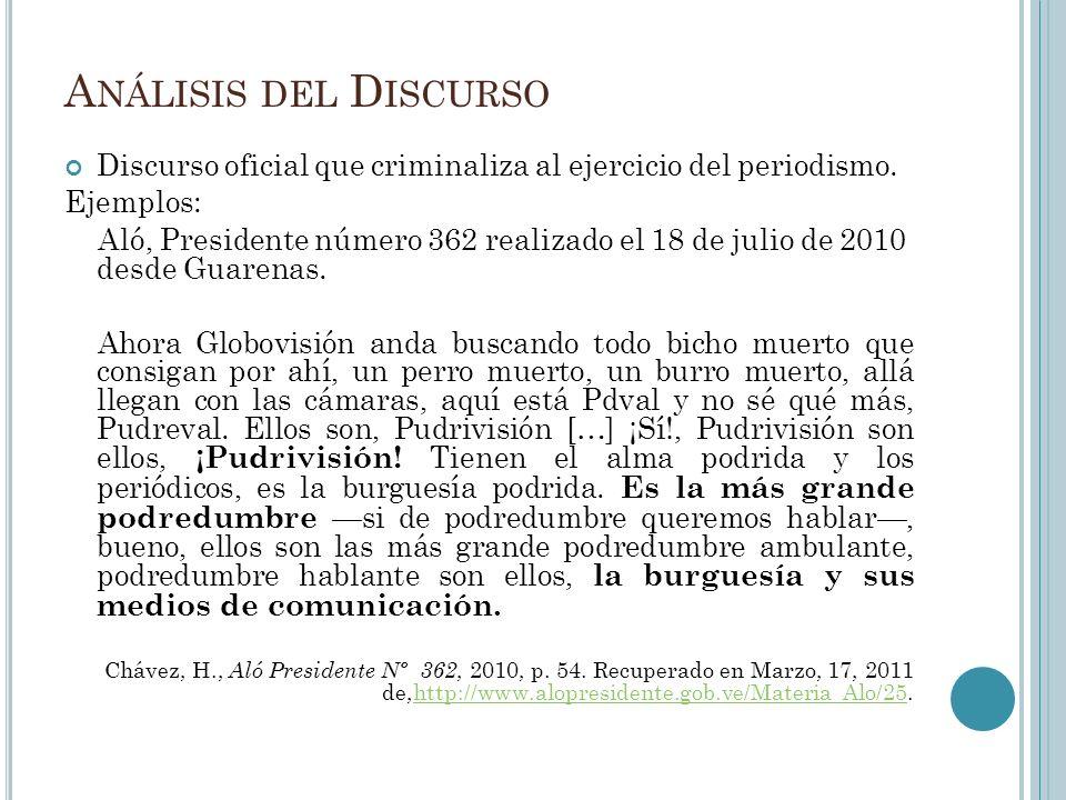 A NÁLISIS DEL D ISCURSO Discurso oficial que criminaliza al ejercicio del periodismo.