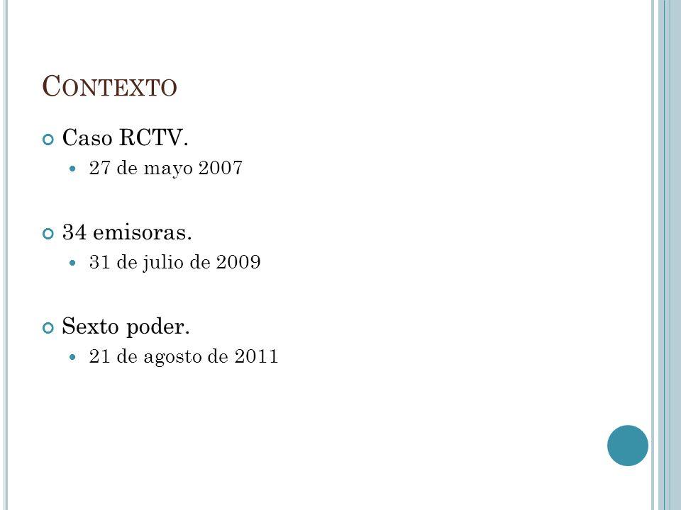 C ONTEXTO Caso RCTV. 27 de mayo 2007 34 emisoras.