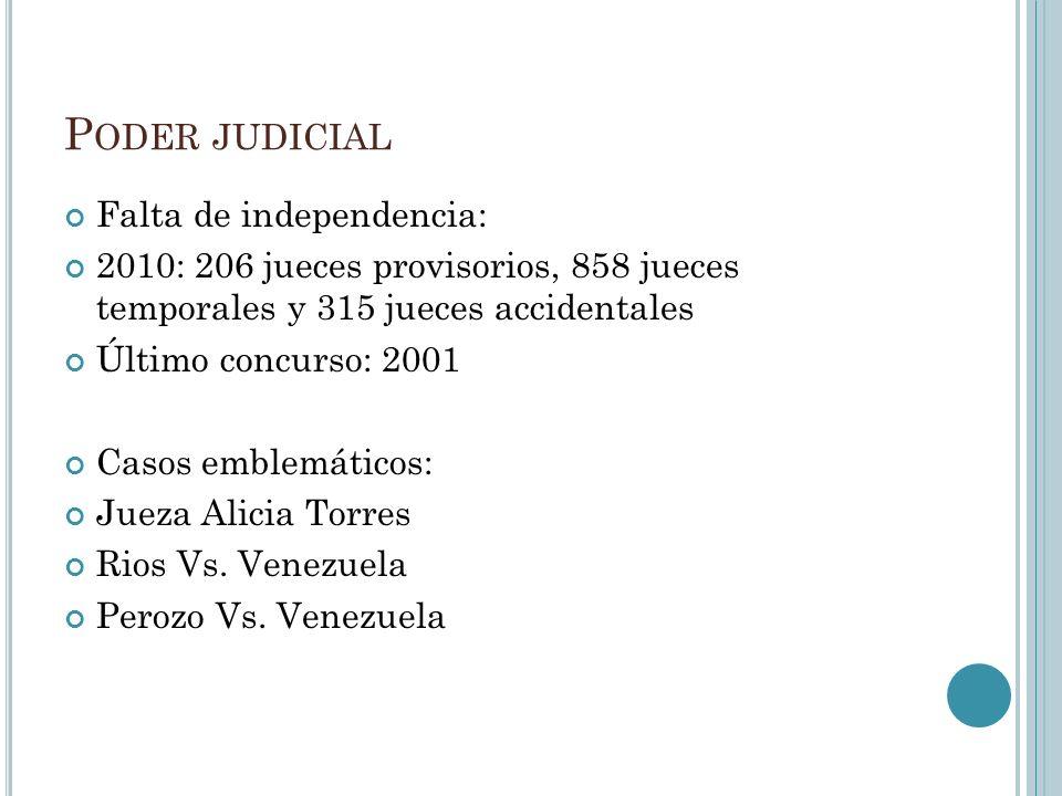 P ODER JUDICIAL Falta de independencia: 2010: 206 jueces provisorios, 858 jueces temporales y 315 jueces accidentales Último concurso: 2001 Casos emblemáticos: Jueza Alicia Torres Rios Vs.