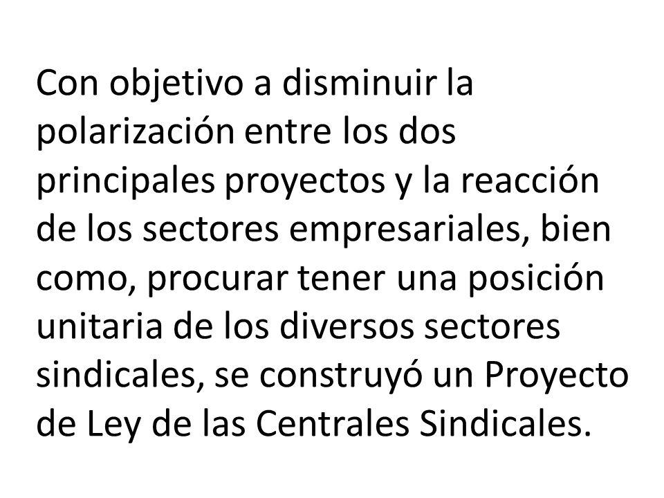 Con objetivo a disminuir la polarización entre los dos principales proyectos y la reacción de los sectores empresariales, bien como, procurar tener una posición unitaria de los diversos sectores sindicales, se construyó un Proyecto de Ley de las Centrales Sindicales.