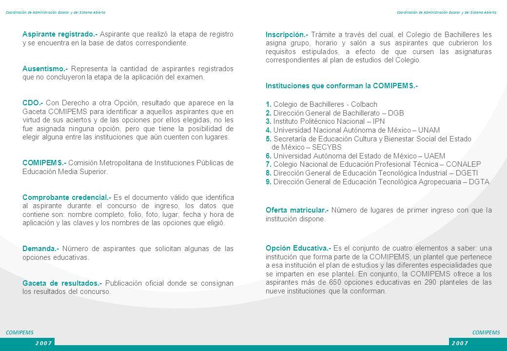 COMIPEMS 2 0 0 7 COMIPEMS 2 0 0 7 Coordinación de Administración Escolar y del Sistema Abierto Inscripción.- Trámite a través del cual, el Colegio de