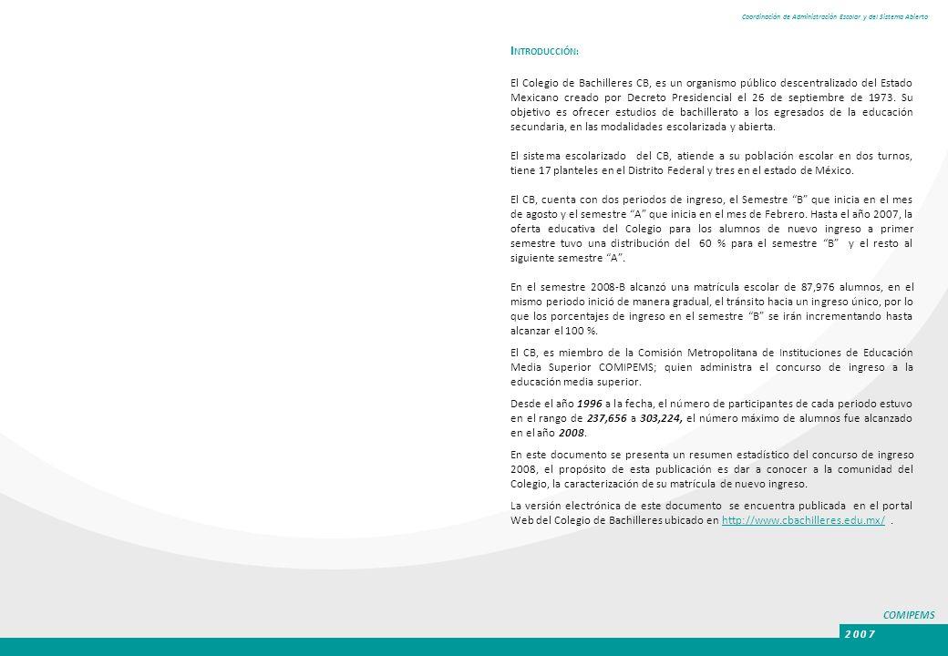 COMIPEMS 2 0 0 7 Coordinación de Administración Escolar y del Sistema Abierto I NTRODUCCIÓN: El Colegio de Bachilleres CB, es un organismo público des