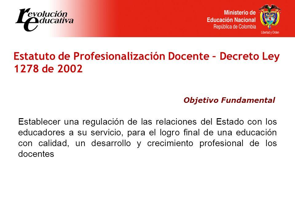 Estatuto de Profesionalización Docente – Decreto Ley 1278 de 2002 Establecer una regulación de las relaciones del Estado con los educadores a su servicio, para el logro final de una educación con calidad, un desarrollo y crecimiento profesional de los docentes Objetivo Fundamental