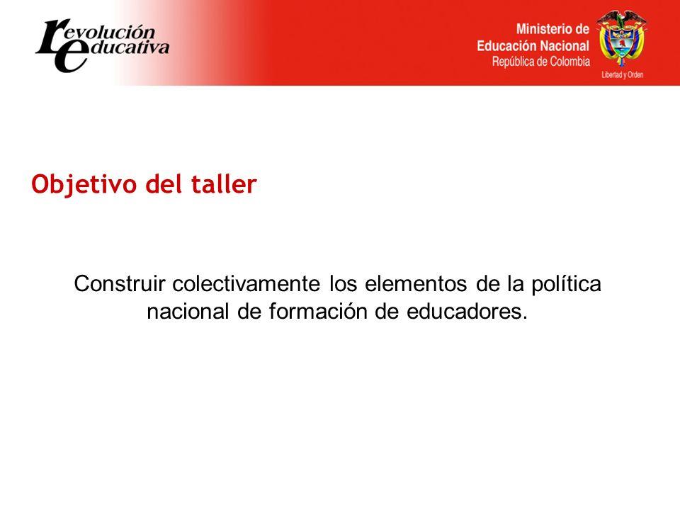 Construir colectivamente los elementos de la política nacional de formación de educadores.
