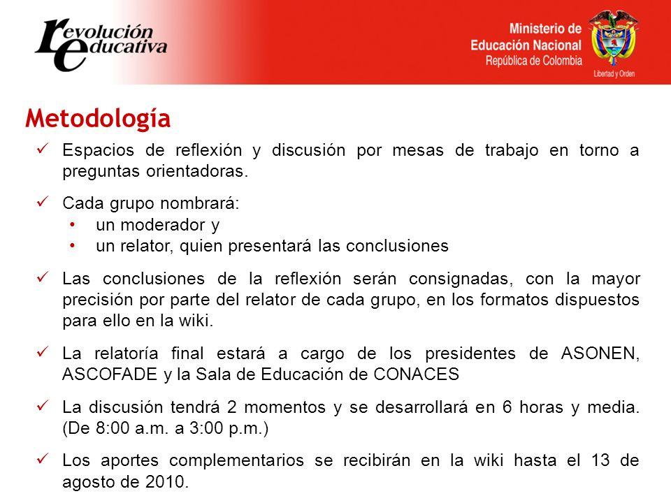 Metodología Espacios de reflexión y discusión por mesas de trabajo en torno a preguntas orientadoras.