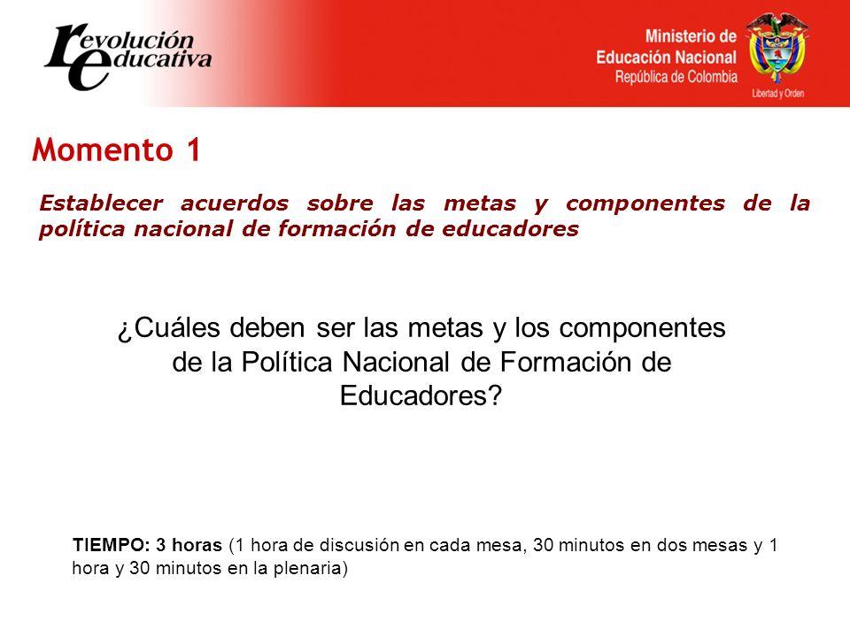 Momento 1 Establecer acuerdos sobre las metas y componentes de la política nacional de formación de educadores ¿Cuáles deben ser las metas y los componentes de la Política Nacional de Formación de Educadores.