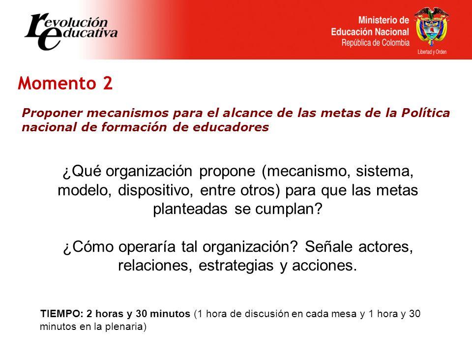 Momento 2 Proponer mecanismos para el alcance de las metas de la Política nacional de formación de educadores ¿Qué organización propone (mecanismo, sistema, modelo, dispositivo, entre otros) para que las metas planteadas se cumplan.