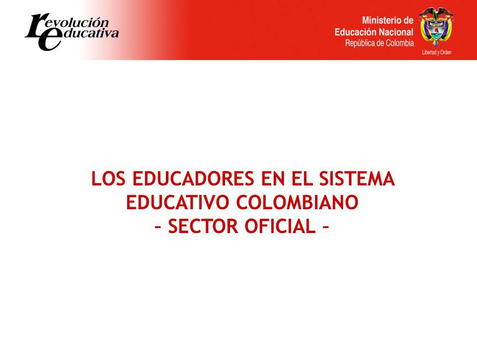 LOS EDUCADORES EN EL SISTEMA EDUCATIVO COLOMBIANO – SECTOR OFICIAL –