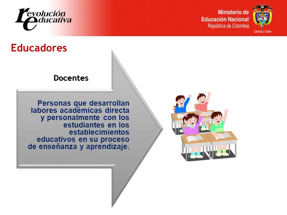 Educadores Docentes Personas que desarrollan labores académicas directa y personalmente con los estudiantes en los establecimientos educativos en su proceso de enseñanza y aprendizaje.