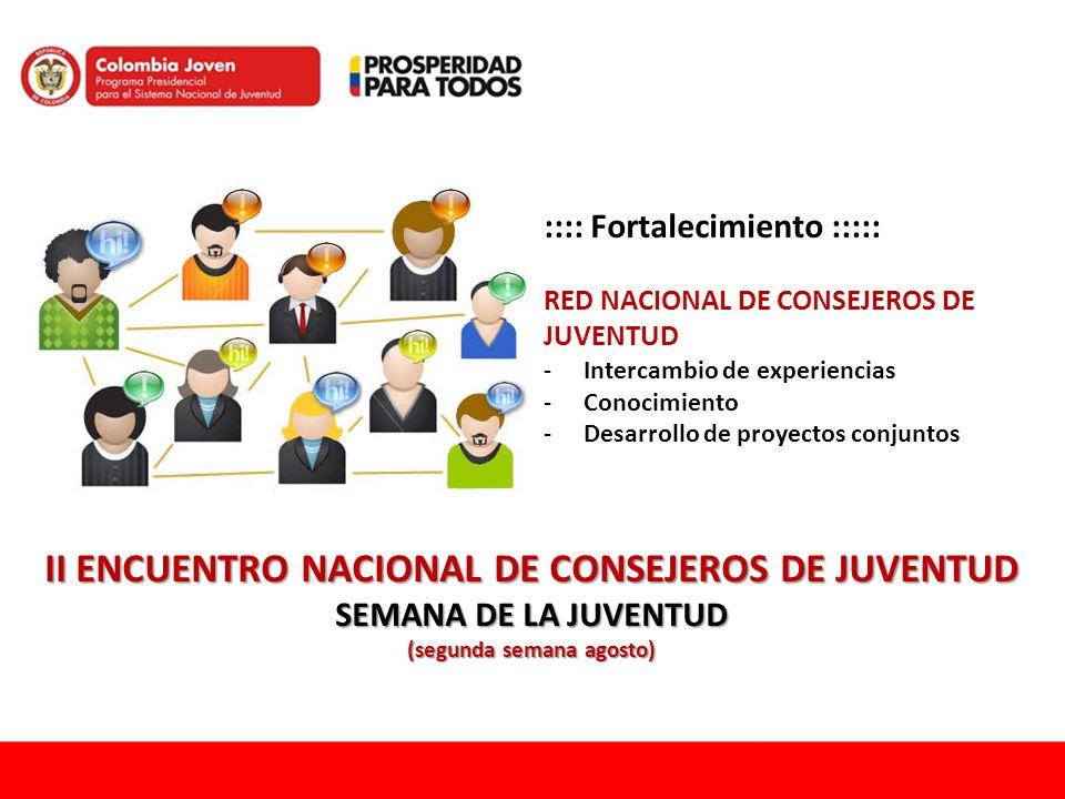 :::: Fortalecimiento ::::: RED NACIONAL DE CONSEJEROS DE JUVENTUD -Intercambio de experiencias -Conocimiento -Desarrollo de proyectos conjuntos II ENC