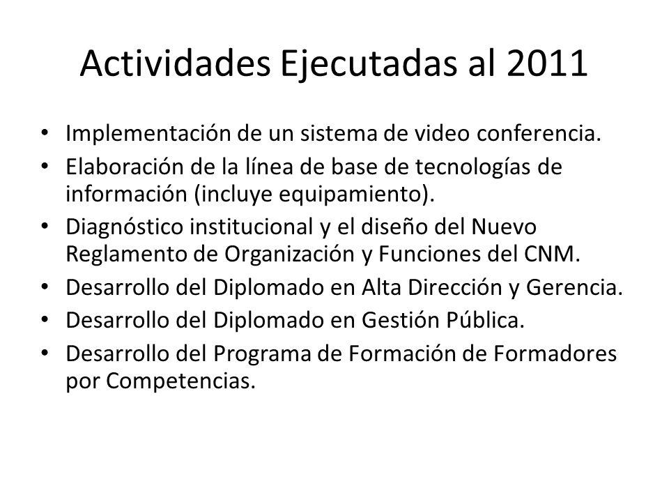 Actividades Ejecutadas al 2011 Implementación de un sistema de video conferencia.