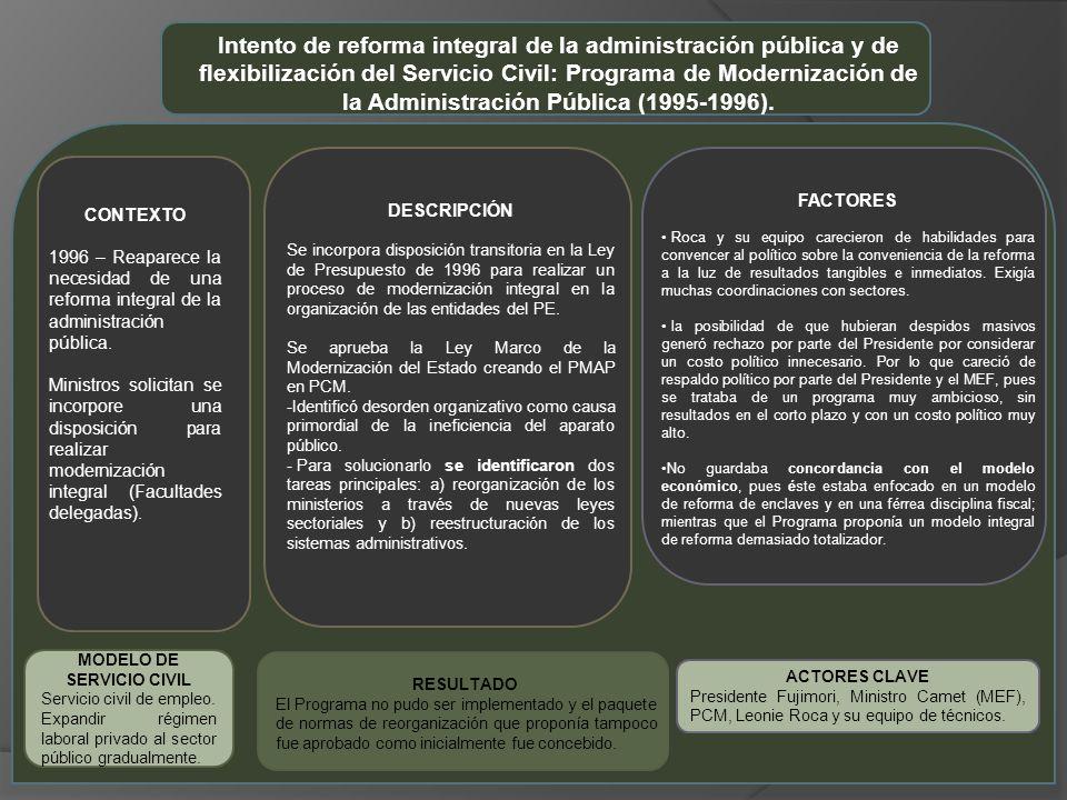 ACTORES CLAVE Presidente Fujimori, Ministro Camet (MEF), PCM, Leonie Roca y su equipo de técnicos.