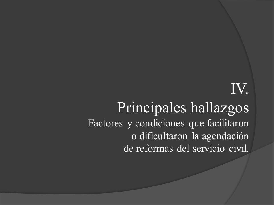 IV. Principales hallazgos Factores y condiciones que facilitaron o dificultaron la agendación de reformas del servicio civil.