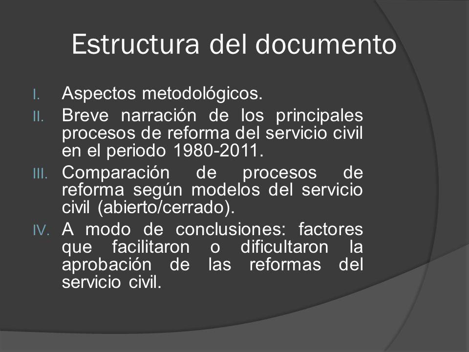 Estructura del documento I.Aspectos metodológicos.