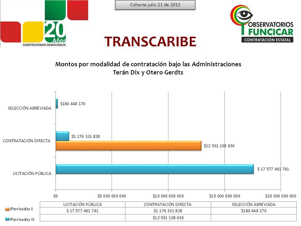TRANSCARIBE PERFILES PROFESIONALES CONTRATADOS Cohorte julio 21 de 2013 Fuente: www.colombiacompra.gov.co