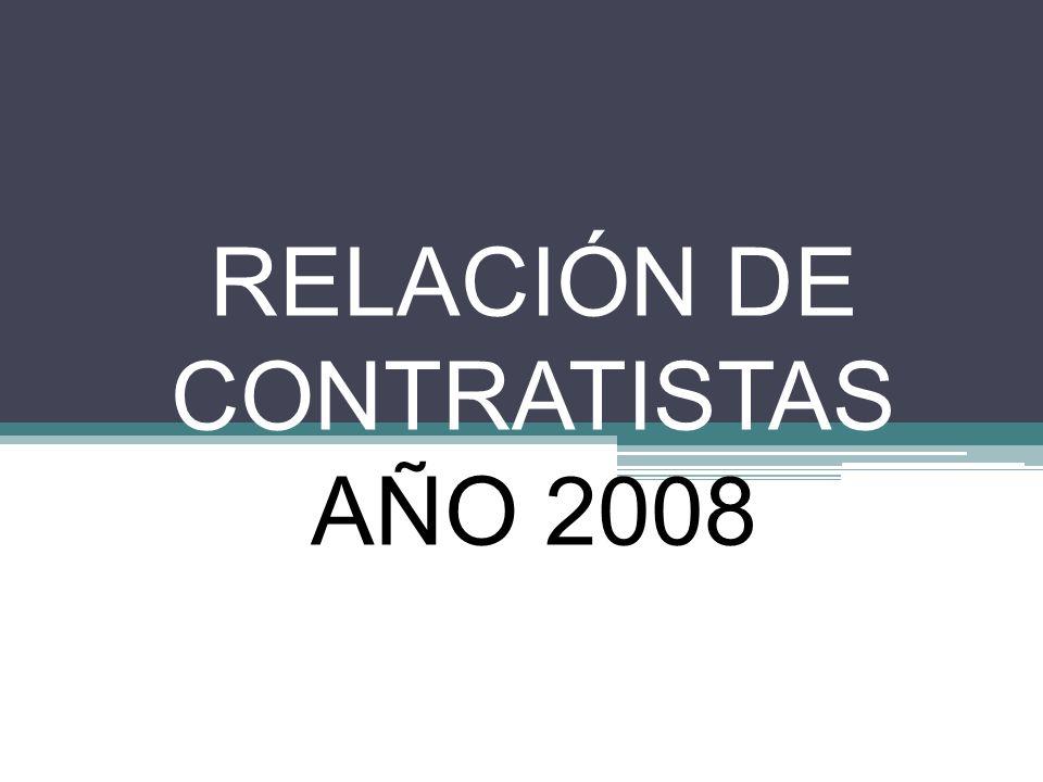 RELACIÓN DE CONTRATISTAS AÑO 2008