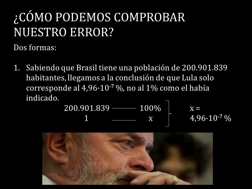 ¿CÓMO PODEMOS COMPROBAR NUESTRO ERROR? Dos formas: 1.Sabiendo que Brasil tiene una población de 200.901.839 habitantes, llegamos a la conclusión de qu